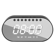 Wireless Bluetooth Digital Alarm Clock Speaker FM Radio Mini Mirror Gift Card Subwoofer Bedside Small Stereo(China)