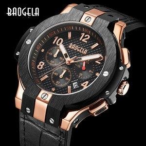 Image 1 - BAOGELA marque hommes montre Quartz montre or bande de caoutchouc 3ATM résistant à leau chronographe hommes Quartz 1909