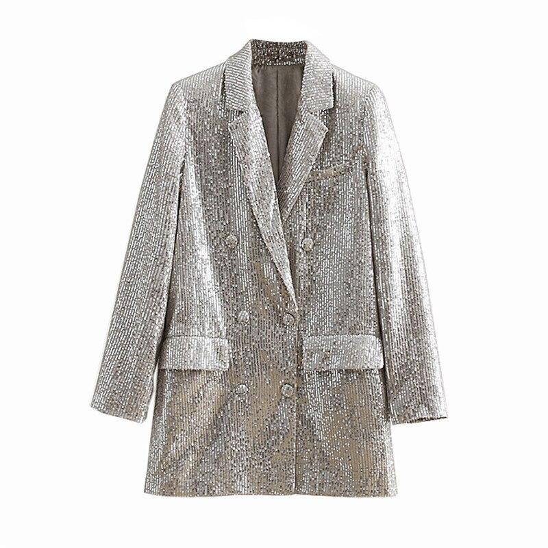 Women Geometric Pattern Sequined Blazer Feminino Shining Pockets Long Sleeve Outerwear Vintage Female Casual Tops