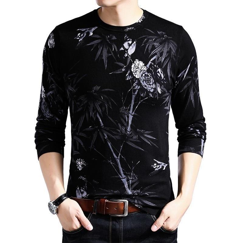 Black White Printed Sweater Erkek Kazak Round Neck Pullover Sueter Slim Fit Pull Homme Mens Chompas Hombre