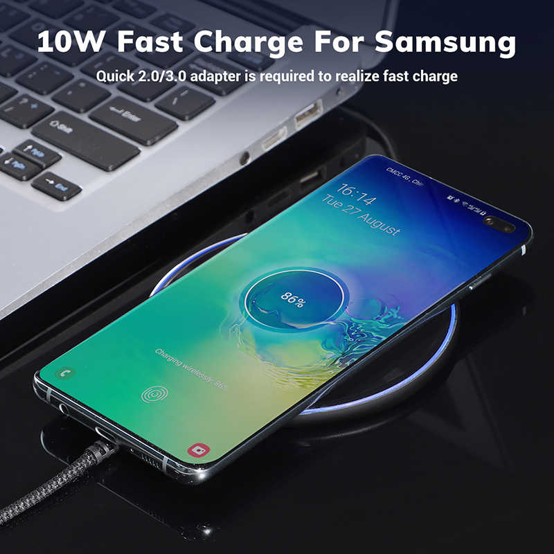 TOPK B02W 10 Вт Беспроводное зарядное устройство светодиодный портативный универсальный быстрый беспроводной телефон зарядное устройство для samsung S10 S9 S8 Xiaomi Mi9
