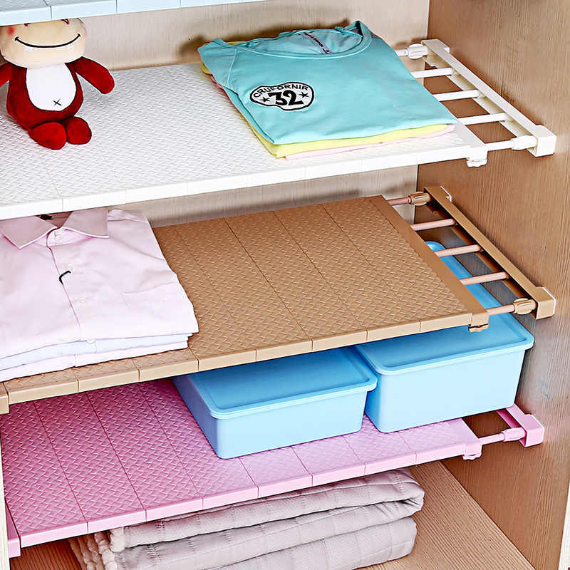 調整可能なクローゼットオーガナイザー収納棚キッチン収納ラック省スペースワードローブ装飾棚ホルダー