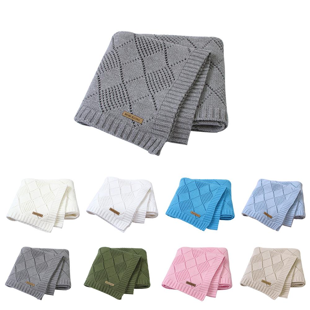 Baby Blankets Knitted 100% Cotton Soft Infantil Bebes Swaddle Wrap Sleep Sack 100*80cm Toddler Kids Stroller Covers Playing Mats