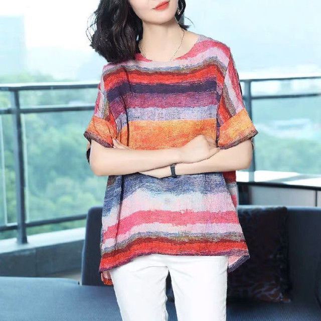 casual elegance, striped top drop sleeve  4