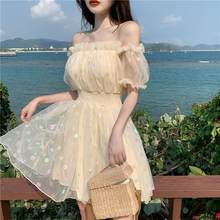 Luck A French Fairy Dress Women Elegant Off Shoulder Sequin Party Dress Women Casual Retro Korean Style Kawaii Summer Dress(China)