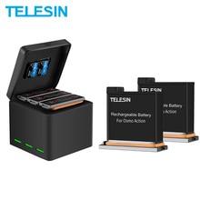 TELESIN 3 шт батарея+ 3 слота зарядное устройство 2 TF карты коробка для хранения для DJI Osmo Экшн камеры аксессуары