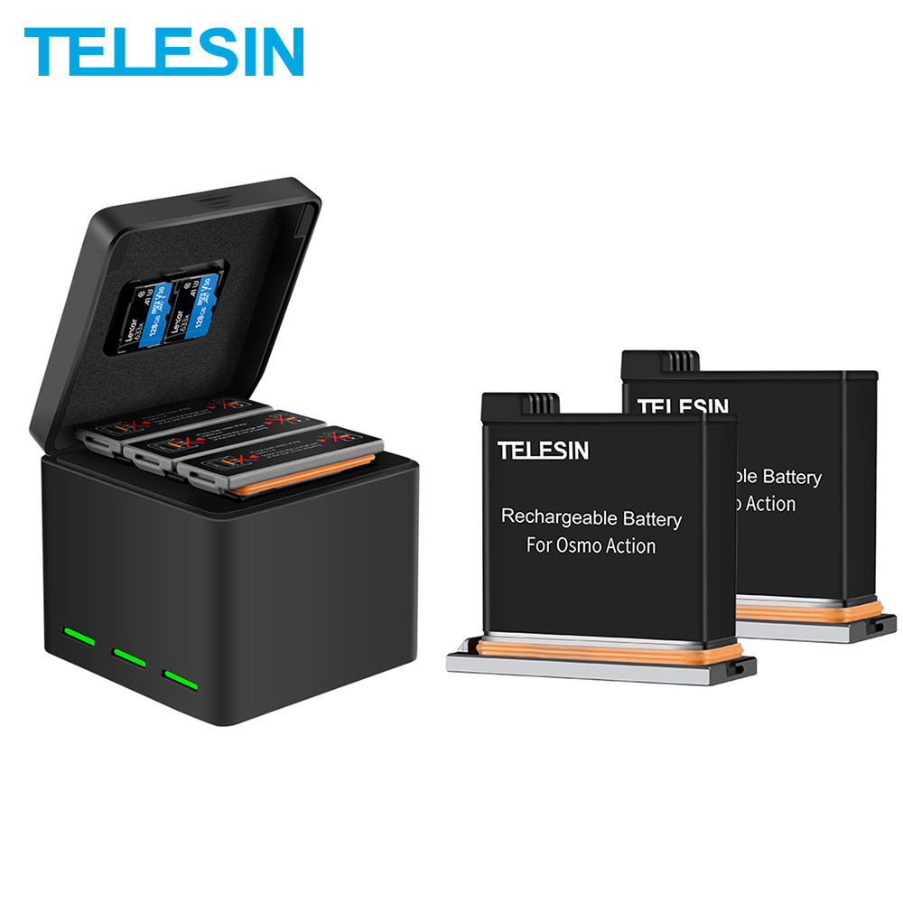 TELESIN 3 Pack Battery + 3 Slots Battery Charger 2 TF Card Storage Box For DJI Osmo Action Camera Accessories