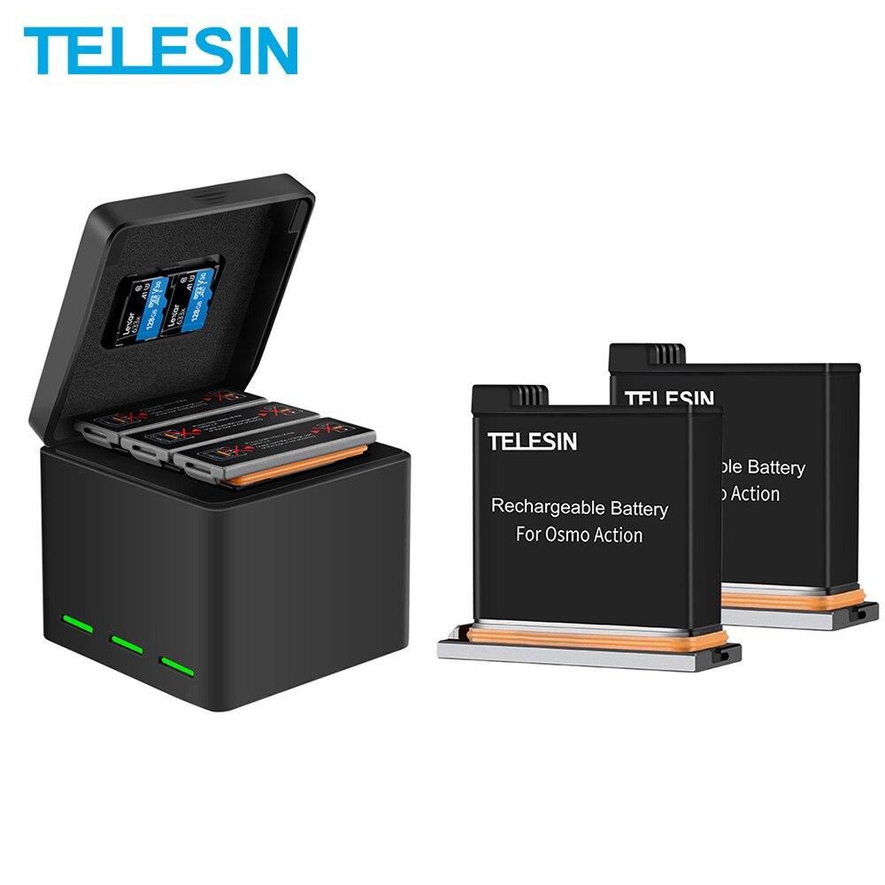 Telesin 3 pacote de bateria + 3 slots carregador de bateria 2 caixa de armazenamento cartão tf para dji osmo acessórios da câmera ação