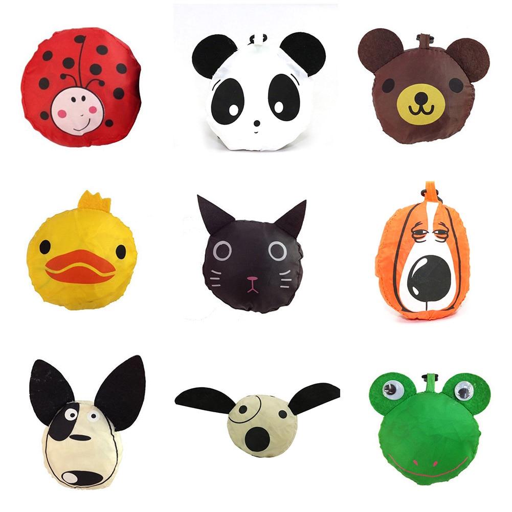New Animals Cute Dog Useful Nylon Foldable Folding Eco Reusable Shopping Bags Cartoon Eco Tote Bag Portable Travel Shoulder Bag