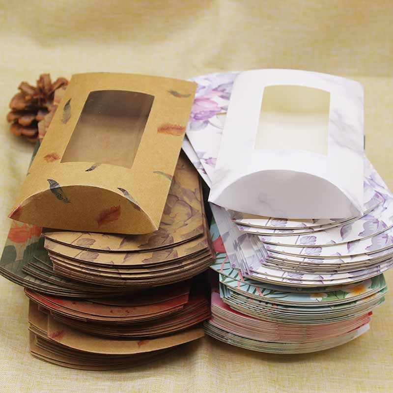 DIY Putih Marmer Pernikahan Bantal Kotak dengan Jendela Terbaru Buatan Tangan Kertas Kraft Permen Natal Hadiah Kotak Paket