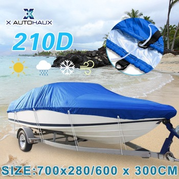 X AUTOHAUX 540/570/700 x 280/300CM 210D Trailerable Boat Cover Waterproof Fishing Ski Bass Speedboat V-shape Blue Boat Cover