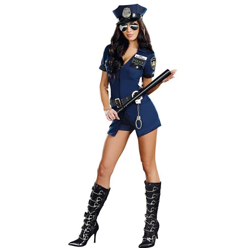 Hot Sexy Della Donna Della Polizia Ufficiale Uniforme del Costume di Halloween Clubwear Zipper Erotica Vestito Cosplay di Carnevale Del Partito Del Vestito Operato