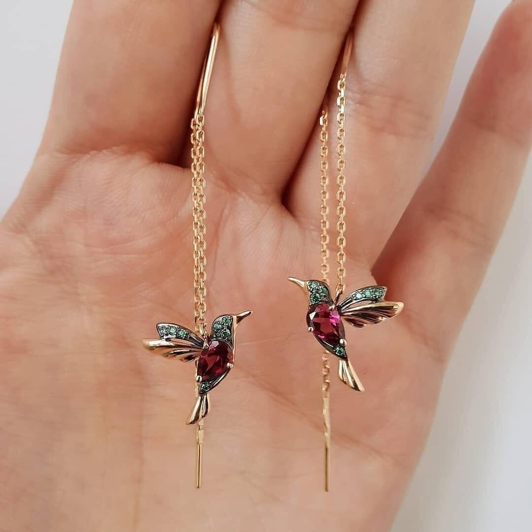 NPKDS 2 Style Elegant Birdie Ear Stud Earrings Rhinestone Dangle Long Tassels Earring For Women Hoop Earrings Wedding Jewelry