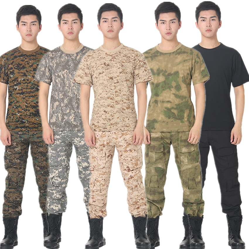 Summer Desert & Jungle Tactical Clothing For Men Military Uniform Camouflage Tops Combat Airsoft Short Shirts Warrior War Game