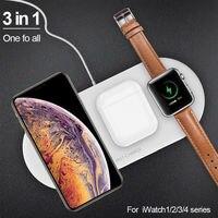 3 In1 10W Rápido Qi Sem Fio Carregador Estande Doca Relógio Airpods IPhone Huwei Pad Para Apple Samsung