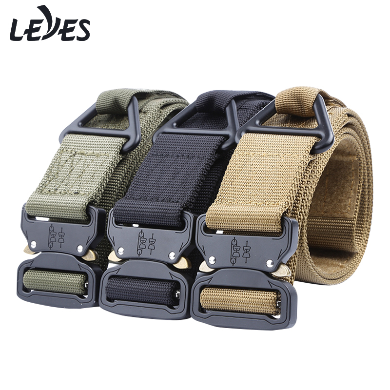 High Quality Tactical Belt For Men Nylon Wide Waist Webbing Hunting Army Military Training Canvas Belt Alloy Automatic Buckle