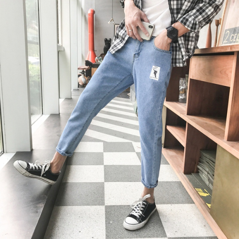 Spring And Summer New Style INS Hong Kong Style Capri Jeans Men's Korean-style Small Dark Color Jeans Men's