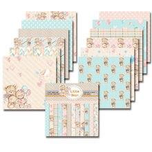 Pequeno urso scrapbooking pacote de papel de 24 folhas artesanal papel artesanal almofada de fundo de artesanato p19