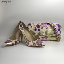 Handbag High-Heel Purple Pumps Flower Slip-On-Shoes Matching Party WENZHAN with 36-43