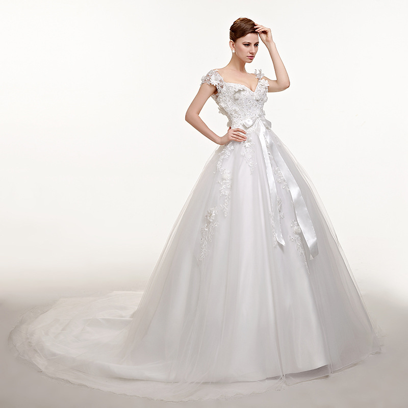 9 Style Cheap Wedding Dresses With Free Shipping White Lace Satin Lace Up Wedding Gowns Plus Size Long Bridal Dress Beaded 2019