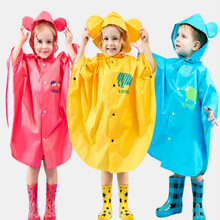 cartoon 3-15years old rain coat kids raincoat children baby red blue yellow Hat with reflective free shipping