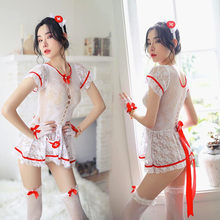 Sexy Uniform Underwear Erotic Mesh Nurse Lingerie Set Fishnet Costumes(China)
