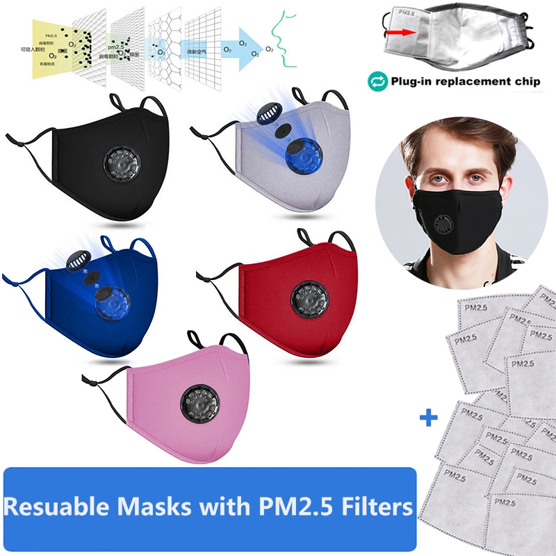 4pcs/set  Reusable Cotton Mask Breathing Valve PM2.5 Anti-Dust Face Masks Unisex  5-layer Protective Filter Resuable Masks