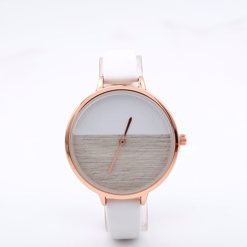The New Fashion Without Calibration Dial Thin Strap Lady Rose Gold Belt Small Quartz Watch Students