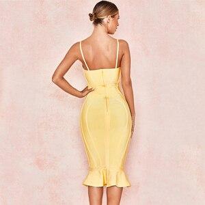Image 5 - 新セレブイブニングパーティー包帯ドレス女性スパゲッティストラップレスセクシーなナイトクラブボディコンドレス女性マーメイドvestidos
