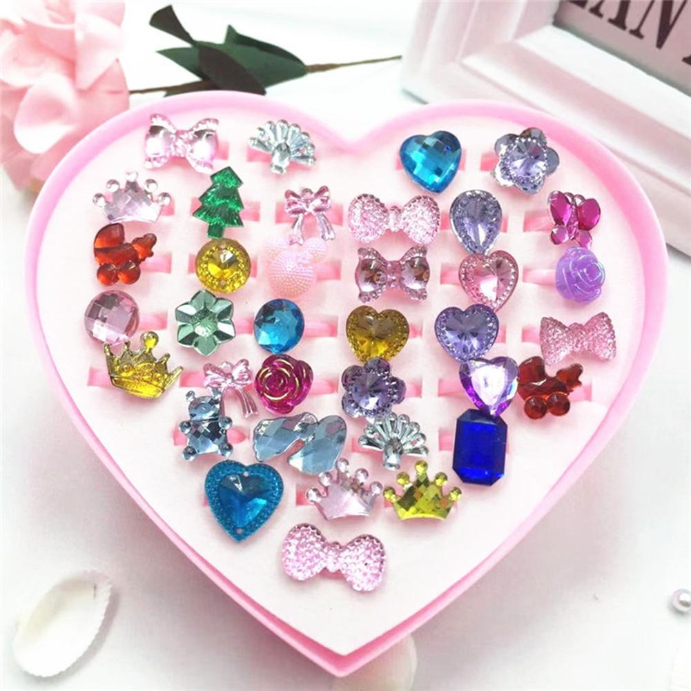 36Pcs Girls Kids Cartoon Flower Resin Rhinestone Rings Toy Set Jewelry Box Birthday Gift For Girls