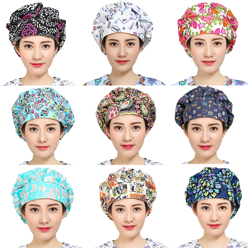 Women's Doctor Scrub Caps Floral Print Surgical Adjustable Hats For Femme Workwear Cap Long Hair Cotton Scrub Surgical Caps