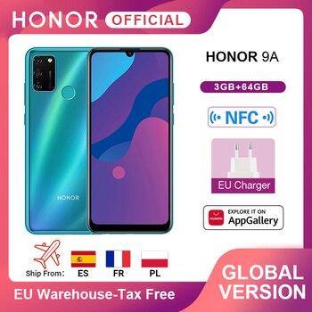 New Global Version Honor 9A Mobile Phones 3GB 64GB 6.3'' Screen 13MP Triple Cams Fingerprint Facial Unlock Smartphone 5000mAh