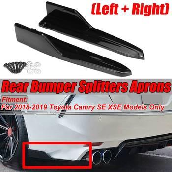 New 2PCS Carbon Fiber Look/Black Car Rear Bumper Lip Splitters Lip Diffuser Side Guard Aprons For Toyota Camry SE XSE 2018 2019