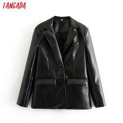 Женский винтажный Блейзер Tangada, Черный Повседневный блейзер из искусственной кожи с длинным рукавом, 6A105