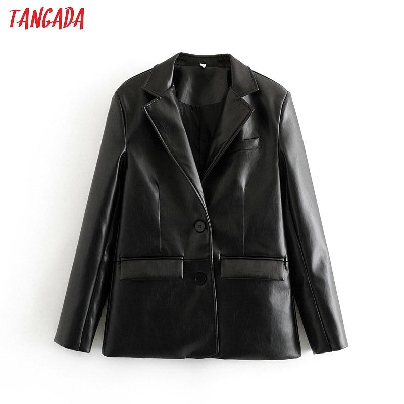 Tangada Women Vintage Black Faux Leather Blazer Female Long Sleeve Jacket Ladies High Street Casual Blazer Suits 6A105