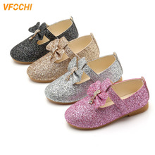 VFOCHI New Girls Leather Shoes for Kids Shining Sequin Princess Children Party Dancing Teenager