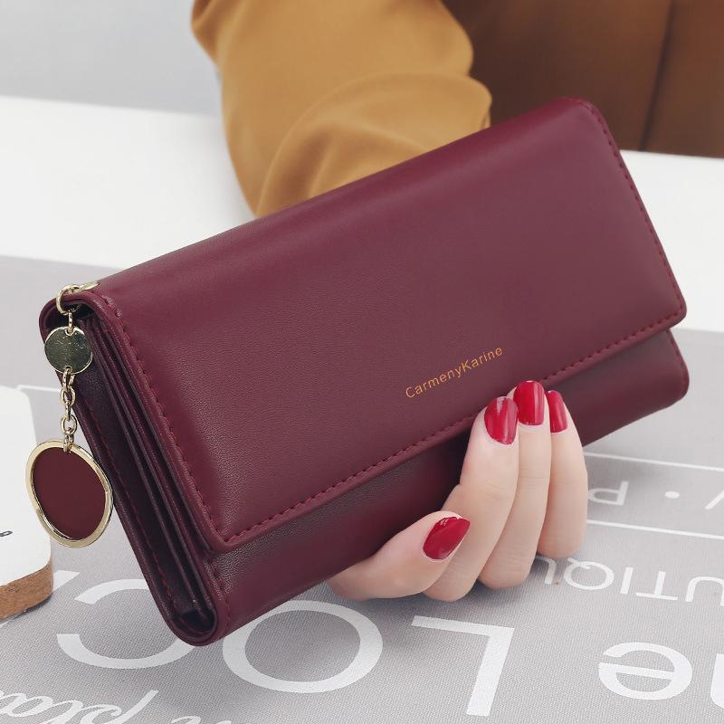 New Fashion Women Wallets Brand Letter Long Tri fold Wallet Purse Fresh Leather Female Clutch Card Holder Cartera Mujer