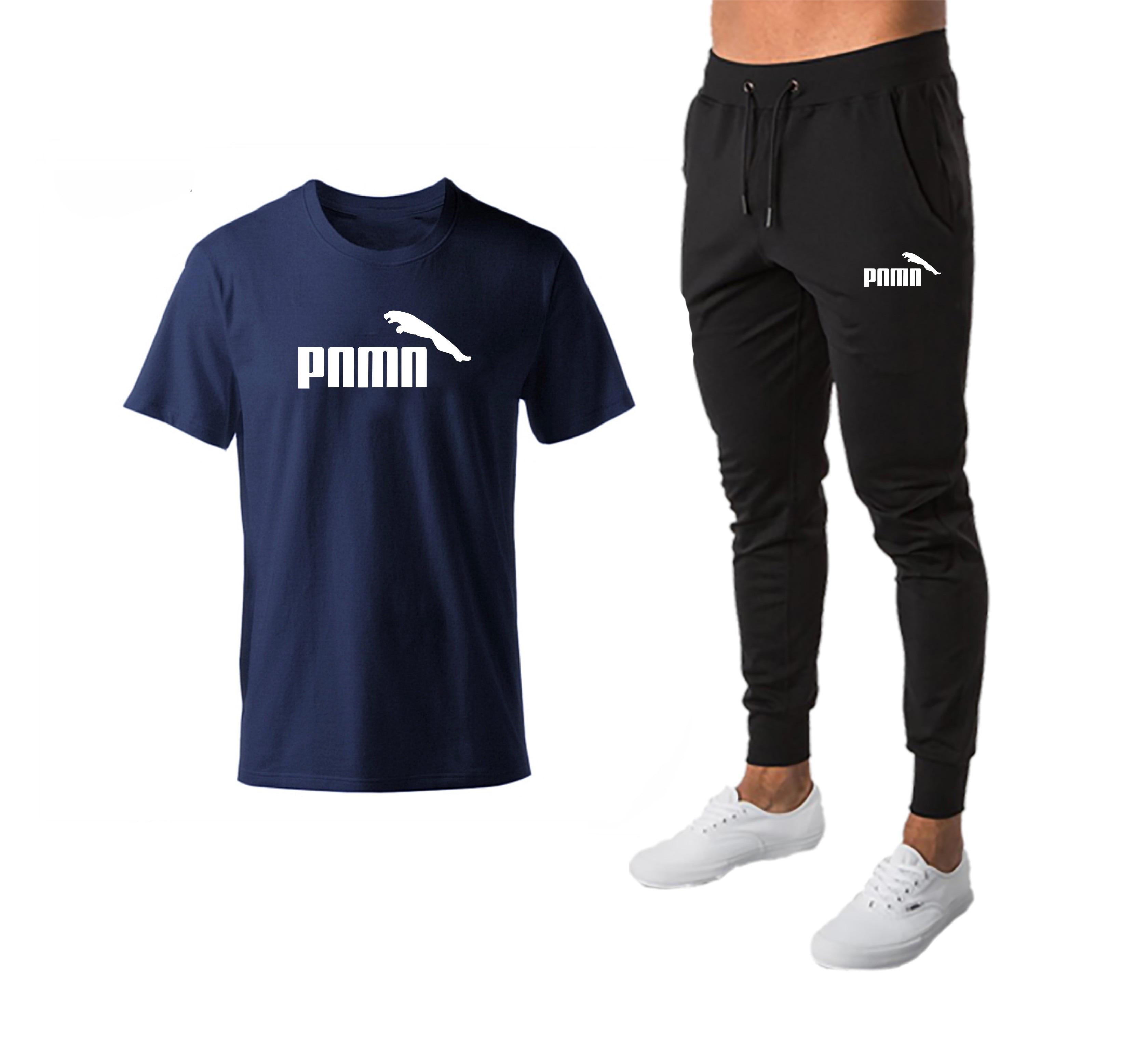 2020 Clothing Men's Fashion T-shirts + Sports Pants Workout Suits Tracksuit Casual Sportsuit Men Sportswear Clothes+Pant Set