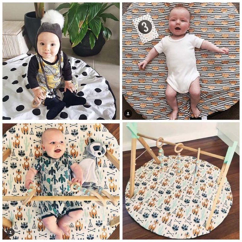 OOTDTY Baby Fitness Rack Cartoon Wood Pendant Children Room Decoration Baby Gym Wooden Toy | Happy Baby Mama