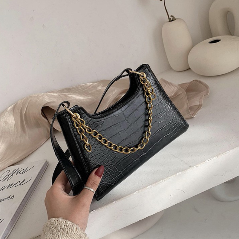 2020 Women Crocodile Bag Bolsas Luxury Designer Handbags Ladies Leather Handbags Stone Messenger Purse Retro Baguette Tote Bags