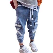 2019 Korean Kids Jeans For Boys Solid Pocket Patchwork Harem Pants Boys Clothing Looes Denim Jeans Pants Children Trousers