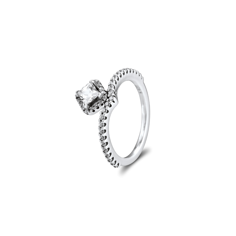 Geometric Rings 100% Authentic 925 Sterling-Silver-Jewelry With Clear CZ Free Shipping