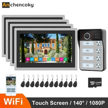 Anchencoky WiFi Video Intercom Doorbell 10 inch IP Wireless Monitor x4 1080P Video Doorbell Support ID Card Home Intercom System build in battery long time standby wireless wifi 720p ip doorbell intercom system