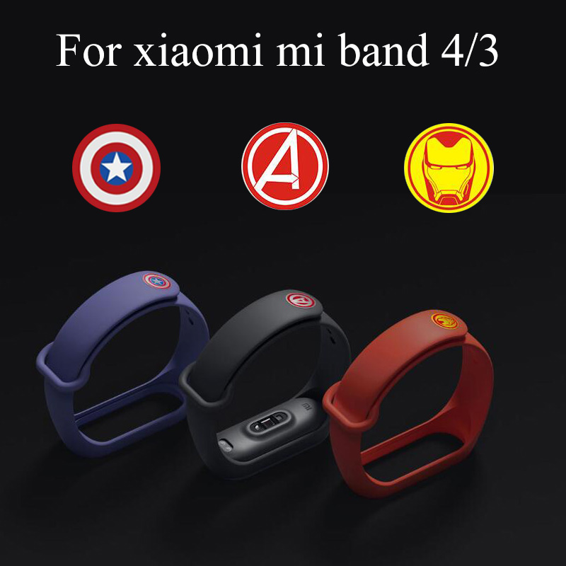 <font><b>Strap</b></font> silicon for <font><b>Mi</b></font> <font><b>Band</b></font> <font><b>4</b></font> Wrist <font><b>Strap</b></font> Sport belt <font><b>mi</b></font> <font><b>band</b></font> 3 smart Bracelet Accessories for xiaomi <font><b>mi</b></font> <font><b>band</b></font> <font><b>4</b></font>/3 <font><b>Avengers</b></font> <font><b>Strap</b></font> image