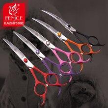 Fenice 6.5 polegada profissional cão grooming para baixo tesoura curvada tesouras coloridas ferramentas de groomer japão 440c conjunto com pente e saco