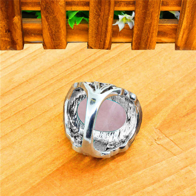 VINTAGE Pink ควอตซ์ Jades อเมทิสต์แหวนโบราณ Silver Plated Plant Snail แหวนแฟชั่น