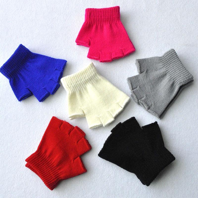 Hot Children Magic Knitted Gloves Kids Stretch Half Finger Glove Winter Warm Mittens Solid Fingerless Gloves Girls Soft Wrist