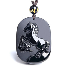 Natural Black Obsidian Horse Pendant Necklace Chinese Carving MaDaoGongCheng Fine Jewelry Lucky Amulet Crystal Jewelry Gift obsidian necklace natural stone wolf head pendant buddha guardian ball chain carving amulet with obsidian blessing lucky jewelry