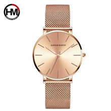 Marca superior de luxo hm malha aço inoxidável relógio de pulso japão movimento quartzo sk rosa ouro designer estilo elegante relógio para mulher
