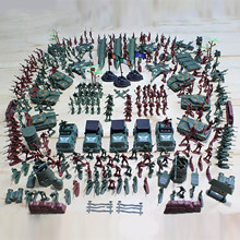 Kids 307pcs Plastic Military Soldier Army Base Model Army Men Figures Battle Group Weapon Accessories Playset Children Toys